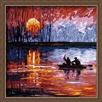 """Картина по номерам """"Рыбалка на закате"""" (400х400 мм)"""