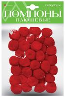 Помпоны плюшевые (40 шт.; 25 мм; красные)