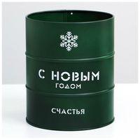 """Подарочная коробка """"Банка-бочка: С новым годом"""" (зеленая)"""