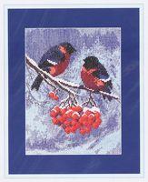 """Вышивка крестом """"Снегири на ветке рябины"""" (150x215 мм)"""