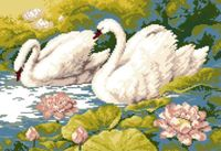 "Канва с нанесенным рисунком ""Лебеди на пруду"""