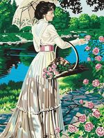 "Картина по номерам ""Дама с цветами"" (400х500 мм)"