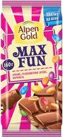 """Шоколад молочный """"Alpen Gold. Max Fun. Арахис, драже и карамель"""" (160 г)"""
