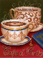 """Вышивка крестом """"Кофе в Париже"""" (150x210 мм)"""