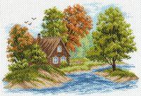 """Канва с нанесенным рисунком """"Пейзаж с домиком"""""""