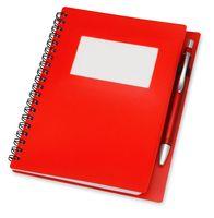 """Блокнот А6 """"Контакт"""" с ручкой (красный)"""
