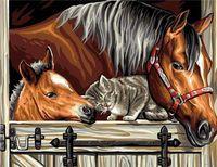 "Картина по номерам ""Лошади и котик"" (300х400 мм)"