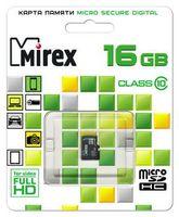 Карта памяти micro SDHC 16Gb Mirex Class 10 (без адаптера)