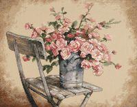 """Вышивка крестом """"Розы на белом стуле"""" (360х280 мм)"""