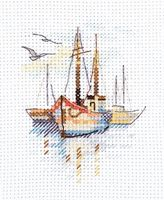 "Вышивка крестом ""Лодки на рассвете"" (60х90 мм)"
