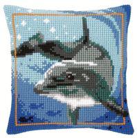 "Вышивка крестом ""Подушка. Дельфин"" (400х400 мм)"