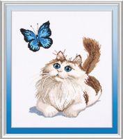"Вышивка крестом ""Котенок и бабочка"" (210х280 мм)"
