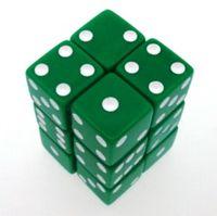 """Набор костей игральных """"Простые"""" (D6, 16мм, 12 шт, зелено-белый)"""