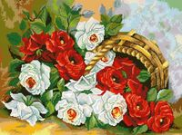 "Алмазная вышивка-мозаика ""Корзина роз"" (410x550 мм)"