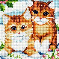 "Алмазная вышивка-мозаика ""Рыжие котята"" (200х200 мм)"