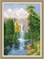 """Вышивка крестом """"Водопад в горах"""""""