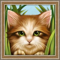 "Алмазная вышивка-мозаика ""Зеленоглазый котёнок"" (150х150 мм)"