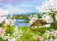 """Вышивка крестом """"Яблони в цвету"""" (240х180 мм)"""