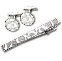 Набор. Заколка для галстука, запонки (цвет: серебристый, с узором, EG-16466)