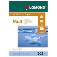 Фотобумага матовая односторонняя Lomond (25 листов; 205 г/м2; А4)