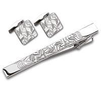 Набор. Заколка для галстука, запонки (цвет: серебристый, с геометрическим узором, EG-16468)