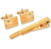 Набор. Заколка для галстука, запонки (цвет: золотой, EG-06719)