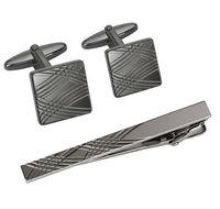 Набор. Заколка для галстука, запонки (цвет: темно-серый, с узором, EG-17339)