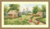 """Вышивка крестом """"Утро в деревне"""" (188х379 мм)"""