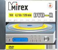 Диск DVD-R 4.7Gb 16x Mirex slim