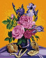 """Картина по номерам """"Букет роз с ирисами и жемчугом"""" (500х400 мм)"""