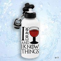 """Бутылка для воды """"Я пью вино и всё знаю"""" (600 мл)"""