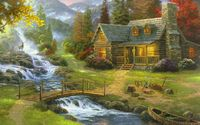 """Картина по номерам """"Дом у горной речки"""" (400х500 мм)"""