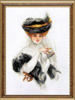 """Вышивка крестом """"Дама с чашкой чая"""" (280х370 мм)"""