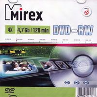 Диск DVD-RW 4.7Gb 4x Mirex slim (в упаковке 5 штук)