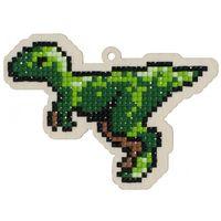 "Алмазная вышивка-мозаика ""Брелок. Динозавр Раптор"" (108х78 мм)"