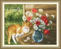 """Вышивка крестом """"Дачная жизнь кота Василия"""""""