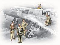 """Набор миниатюр """"Пилоты и техники ВВС США 1941-45г."""" (масштаб: 1/48)"""