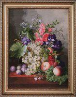"""Вышивка крестом """"Натюрморт с виноградом"""" (370x490 мм)"""