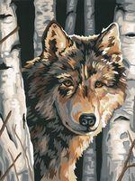 "Картина по номерам ""Волк среди берез"" (230х300 мм)"