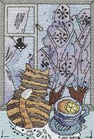 """Вышивка крестом """"Зима за окошком"""" (105х165 мм)"""