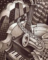 """Алмазная вышивка-мозаика """"Джаз в городе"""" (400х500 мм)"""