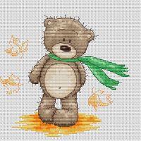"""Вышивка крестом """"Медвежонок Бруно"""" (140х130 мм)"""